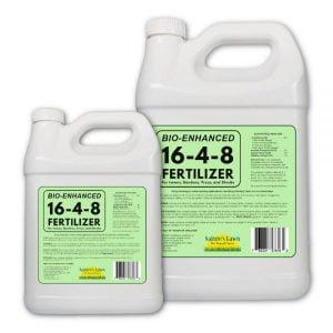 Nature's Lawn - Bio-Enhanced 16-4-8 Liquid Fertilizer - Balanced Fertilizer for Lawns, Trees, Shrubs, & Gardens - With Humic & Fulvic Acid, Kelp, and Molasses - Non-toxic, Pet-safe
