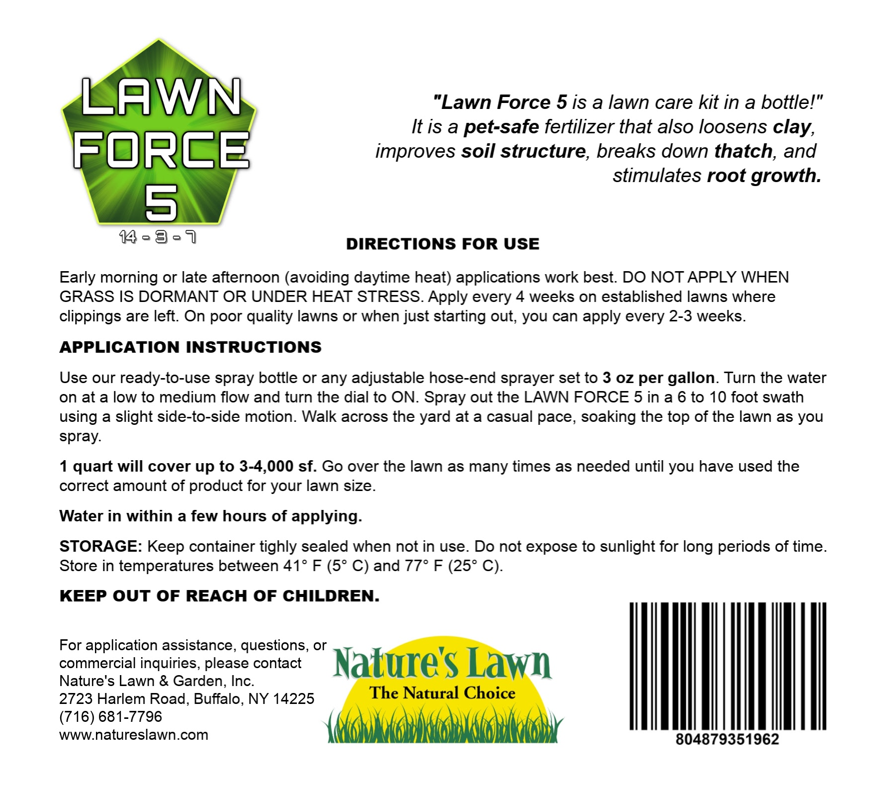 LAWN FORCE 5 Label